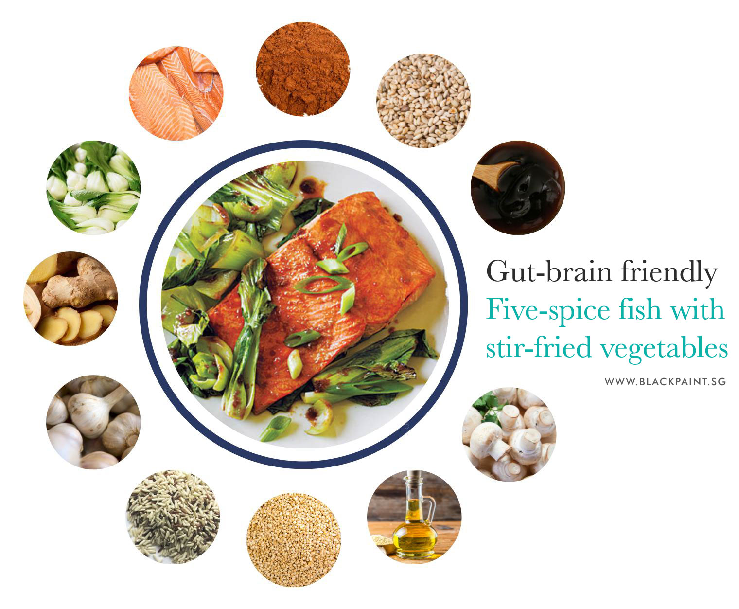 Gut-brain friendly recipe with fish and vegetables
