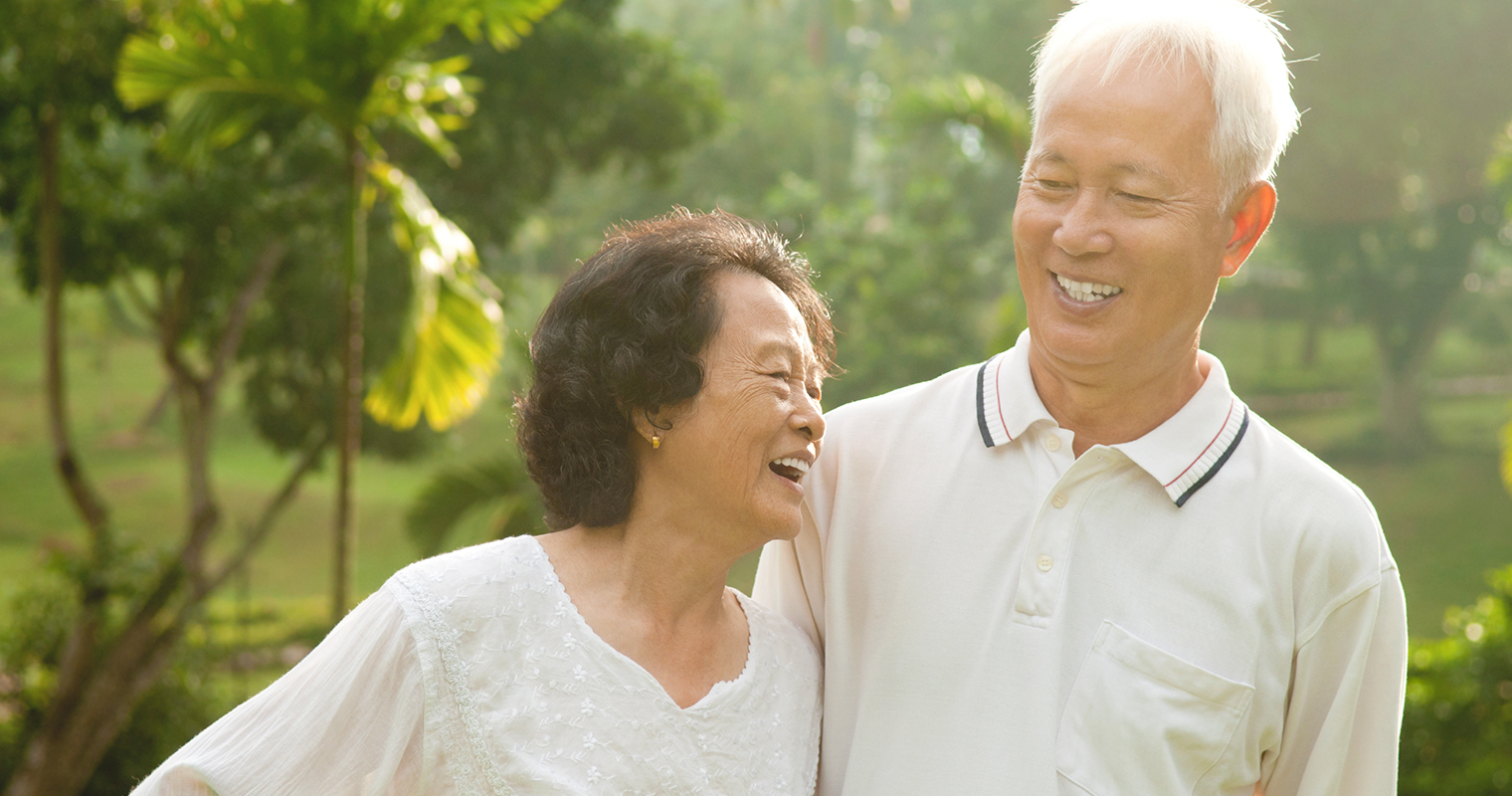 happy and healthy old couple