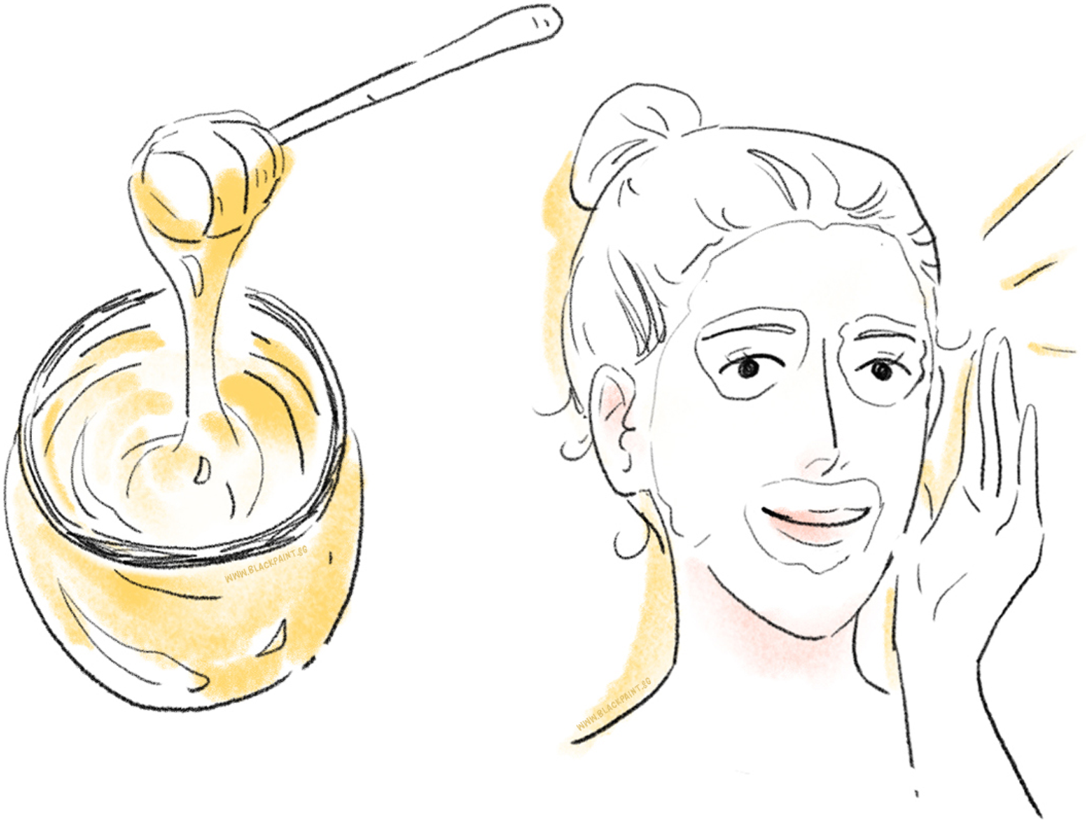 illustration of honey can be used as a facial mask ingredient for brighter skin