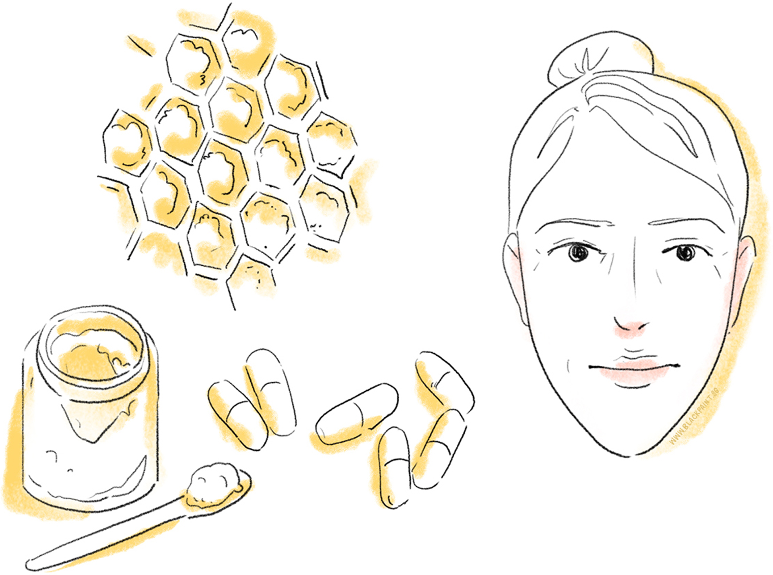 illustration of royal jelly being well known as an ingredient for anti-aging