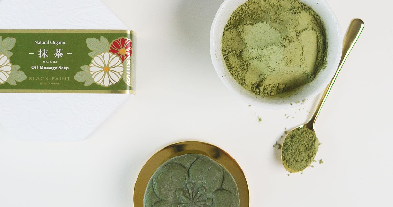 green tea powder and matcha tea soap