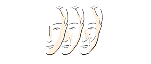illustration of faces of woman with increasing age
