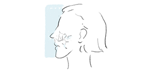 illustration of woman face with dehydrated and dry skin