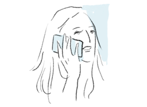 illustration of woman's face come into contact with her phone