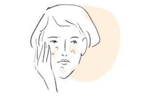 illustration of woman with face full of old and dead skin layer