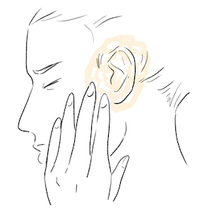 illustation of Almond oil treating ear aches