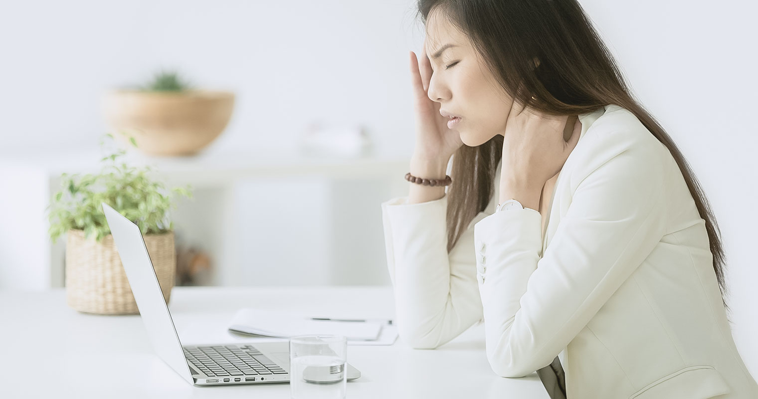 Stressed asian businesswoman having headache at work concept, frustrated dizzy chinese woman touching temple tired of aching head or chronic fatigue in office, korean employee feels strong migraine