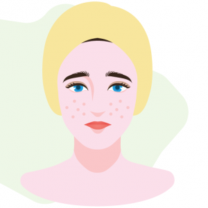 illustratio of woman with ACNE