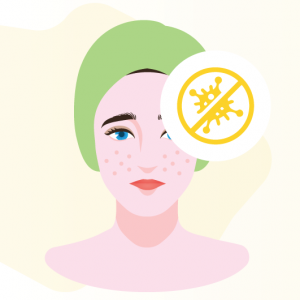 illustration of woman and anti-bacteria properties