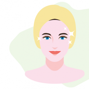 illustration of woman with brightened skin
