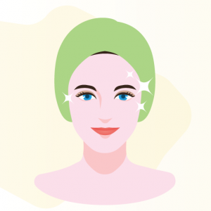 illustration of woman with improved skin condition