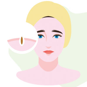 illustration of woman with pores cleansed