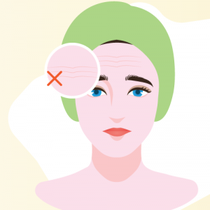 illustration of woman with wrinkles