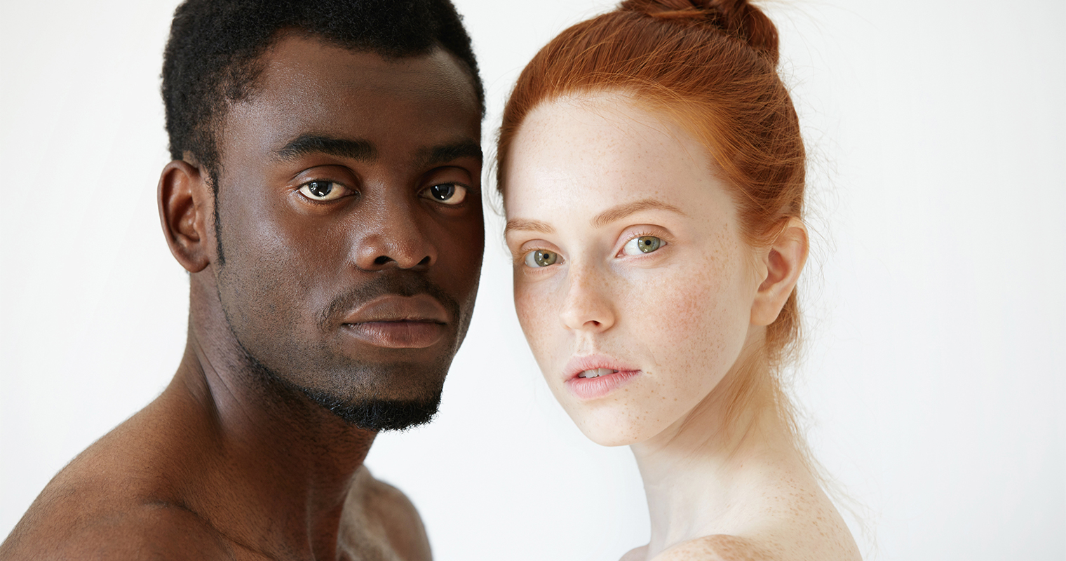 people with genes of black skin and white skin