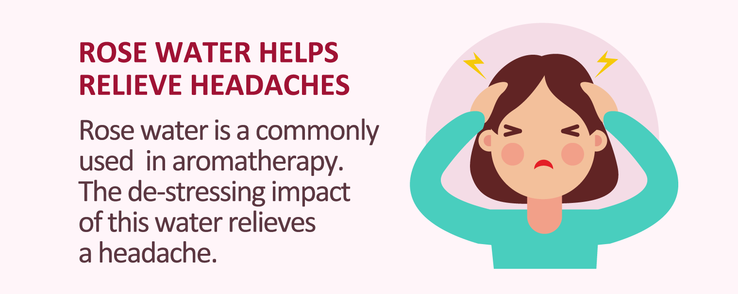 illustration of rose water helps relieve headaches